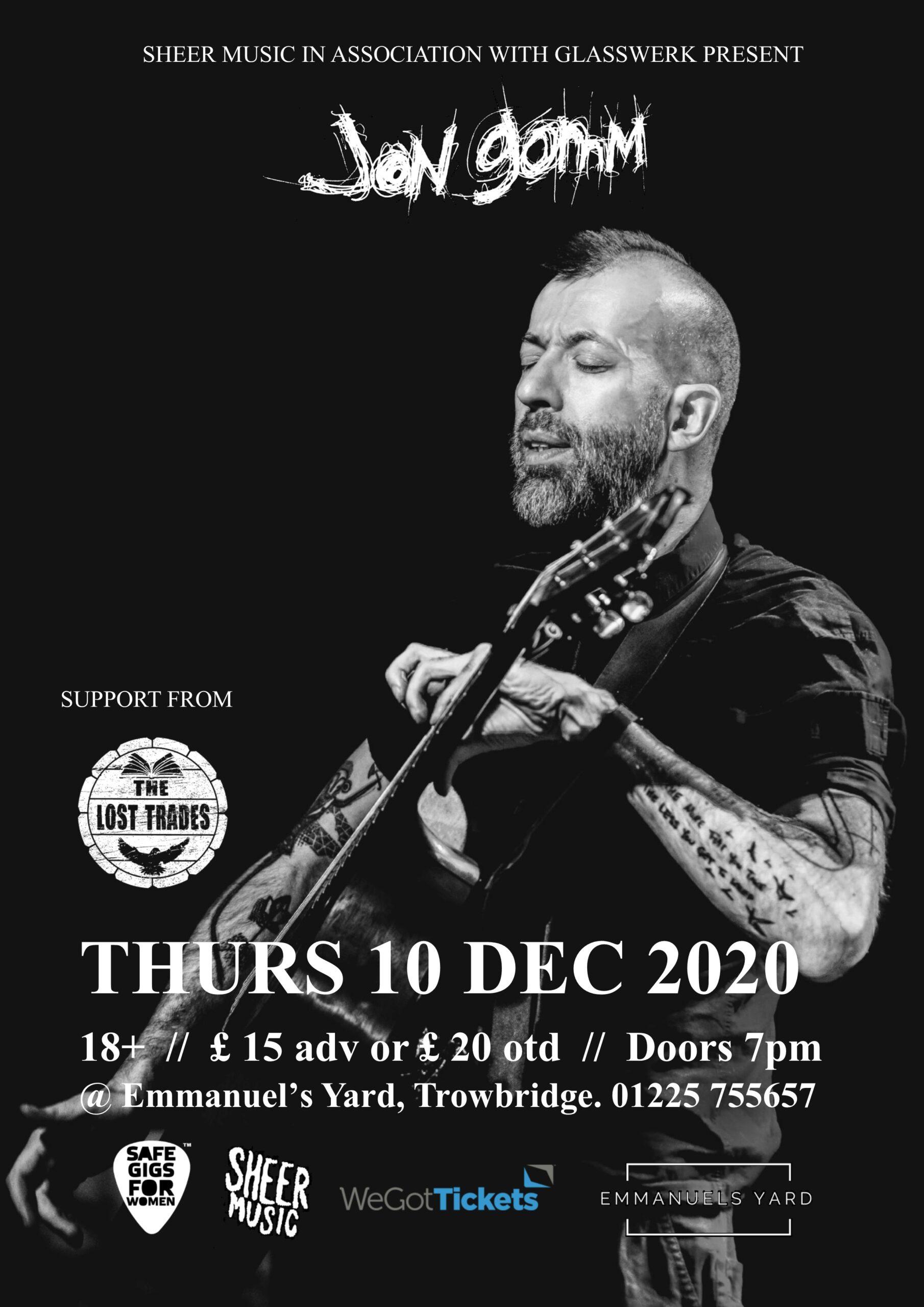 Jon Gomm @ Emmanuel's Yard – Thursday 10th December 2020