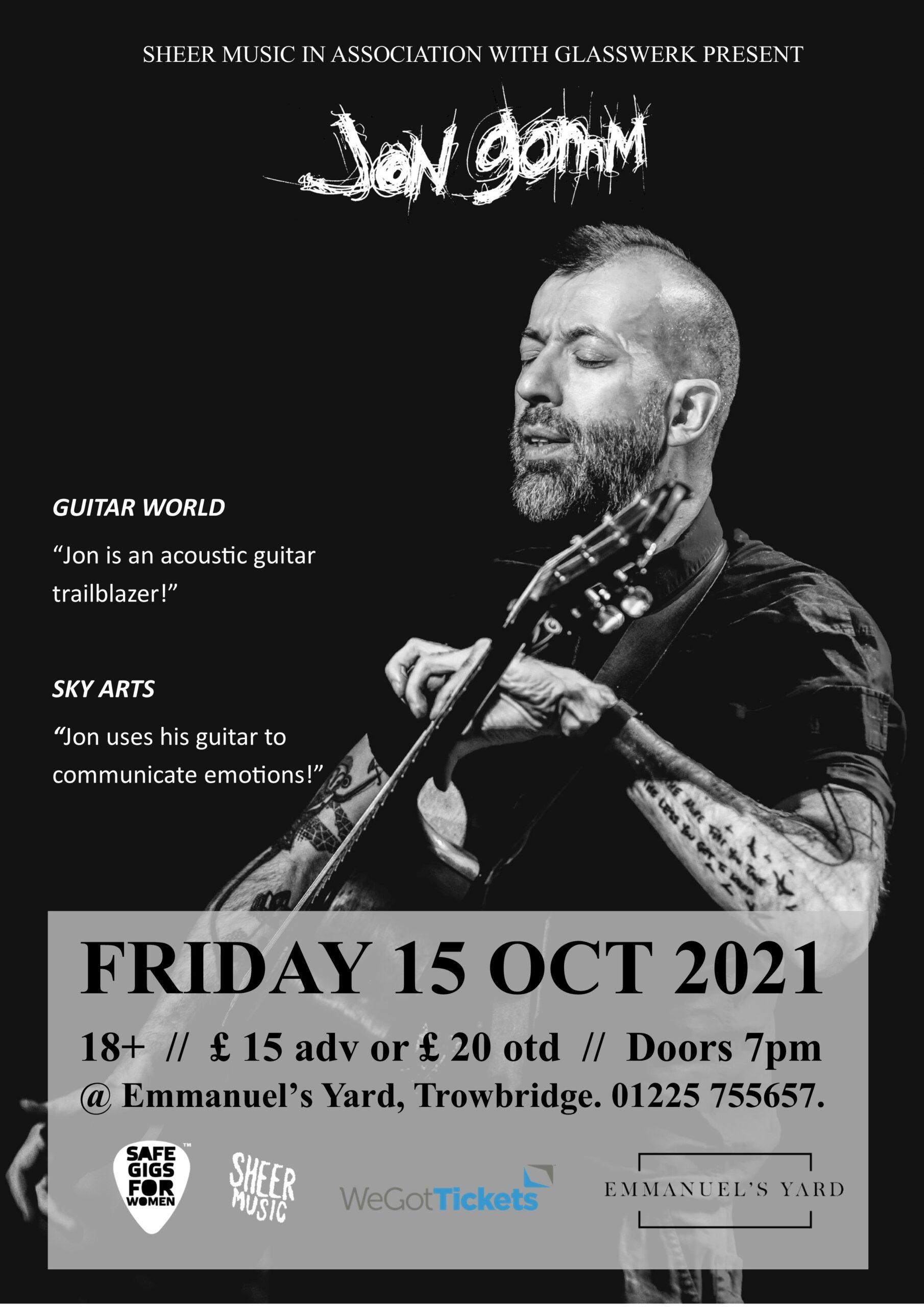 Jon Gomm @ Emmanuel's Yard – Friday 15th October 2021