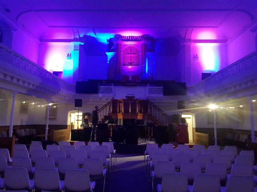 View of the stage at Emmanuel's Yard, Trowbridge.